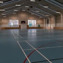 Die Sporthalle des Gruppenhauses Solgarden Efterskole in Dänemark.