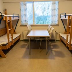 Die Schlafräume im dänischen Freizeitheim Haervejens Leirskole für große Gruppen.