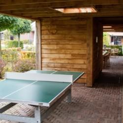 Tischtennisplatte auf überdachter Terasse im niederländischem Gruppenhaus mit Behinderte Handicaphaus Het Keampke Beuk