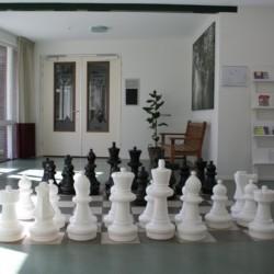 Schachspielen direkt auf dem Boden im handicapgerechten niederländischen Gruppenhaus de Jorishoeve für Menschen mit Behinderung.