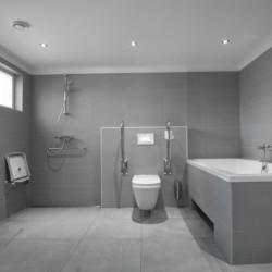Ein handicapgerechtes Badezimmer im Gruppenhaus Linde Plus in den Niederlanden.