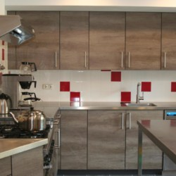 Die gut ausgestattete Küche im niederländischen Gruppenhaus de Repelaerhoeve am Waldrand.