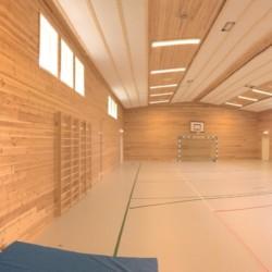 Die Sporthalle des norwegischen Gruppenhauses Fjelltun Leirsted.