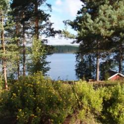 Das schwedische Gruppenhaus Ensro Lägergård mit See Ensen.