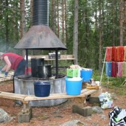 Der Grill des Gruppenhauses Gläntan in Schweden.