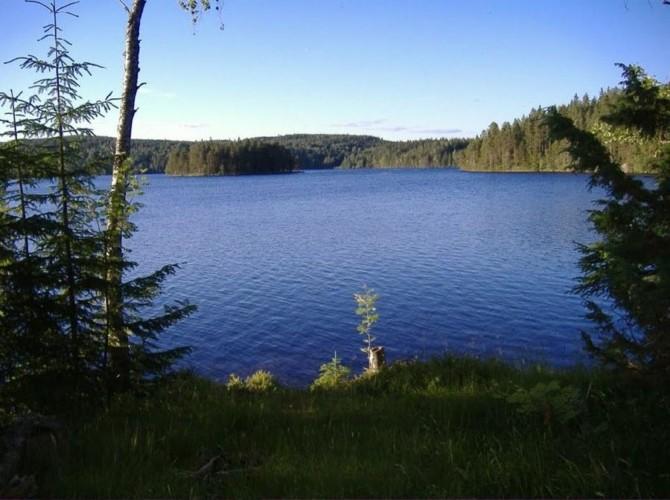Der See des Freizeithauses Gussjöstugan in Schweden.