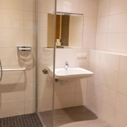 Die sanitären Anlagen im Gruppenhotel Prommegger in Österreich.