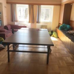 Ein Gruppenraum mit Tischtennis und Sofa im Gruppenhaus Haus Wendy in Österreich.