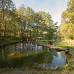 Badesee vom Abenteuerdorf Wittgenstein mit Gruppenhaus Bachbett im Sauerland für Menschen mit Behinderung