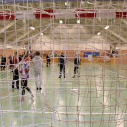 Eine kleine Sporthalle im dänsichen Freizeitheim Helsinge.