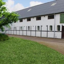Ein Gebäudeteil des Freizeithauses Hulemosegård in Dänemark.