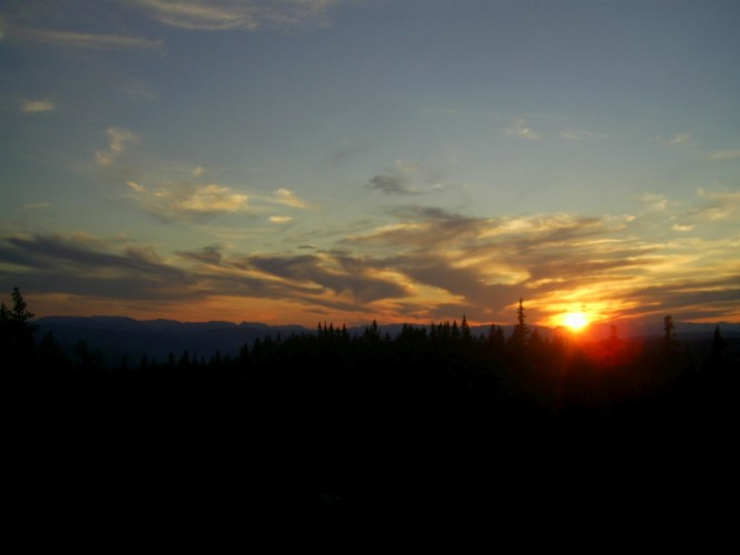 Sonnenuntergang vom norwegischen Gruppenhaus Utiskten