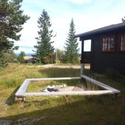 Lagerfeuerstelle am norwegischen Freizeitheim Blestølen Leirsted