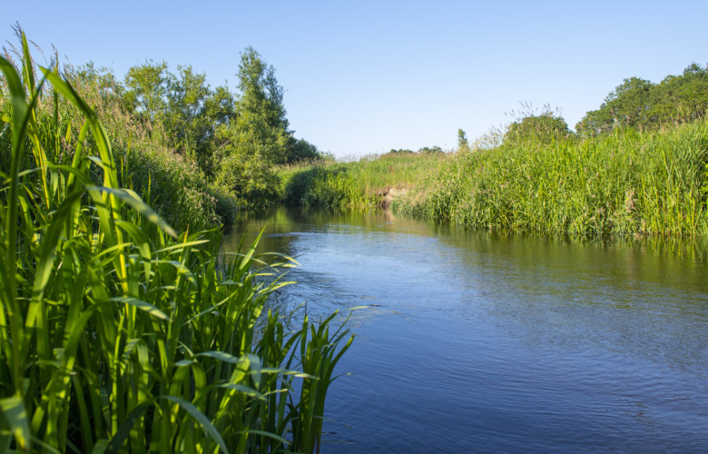 Der kleine Fluß Treene am deutschen Gruppenhaus Tydal für Kinder- und Jugendfreizeiten